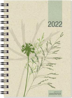 Taschenkalender Graspapier 2022 - Bürokalender 10x14 cm - 1 Woche auf 2 Seiten - robuster Kartoneinband - Wochenkalender - Notizheft - 639-0640