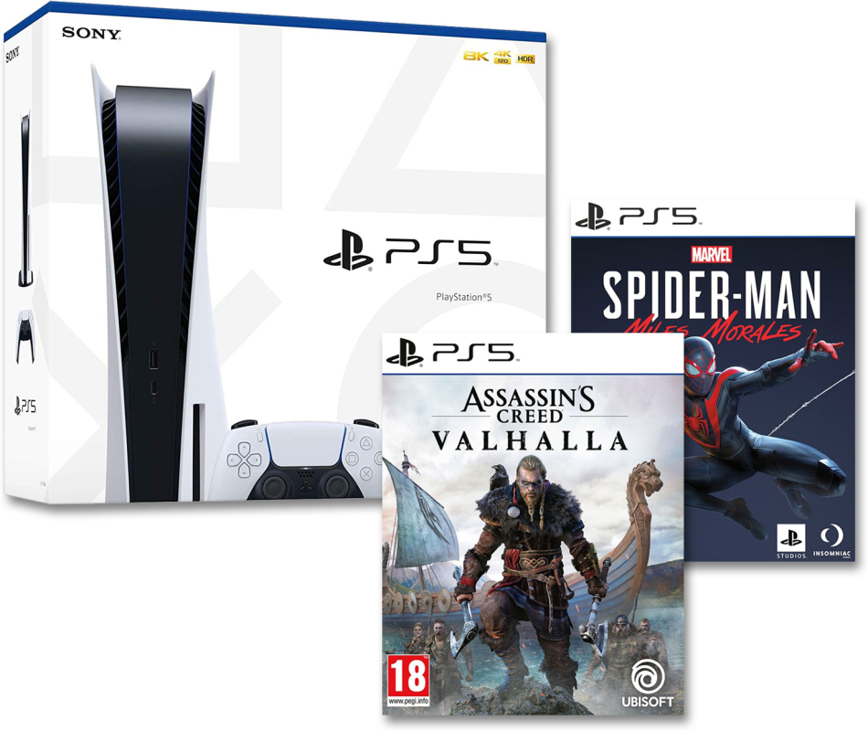 Playstation 5 Bundle 1 - (Konsole + Assassins Creed Valhalla + Spiderman Miles Morales)