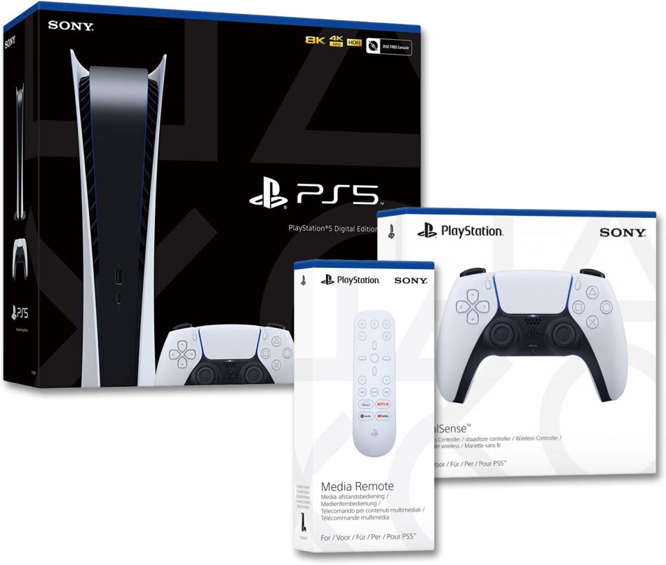 Playstation 5 Digital Bundle - (Konsole + 2.Controller + Remote Control)