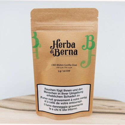 Herba di Berna Gorilla Glue (50g) - Greenhouse (CBD: 13.3% THC: 0.55%)