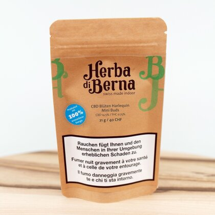 Herba di Berna Harlequin (42g) - Indoor Mini Buds (CBD: 14.5% THC: 0.75%)