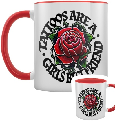 Tattoos Are a Girl's Best Friend - Red Inner 2-Tone Mug