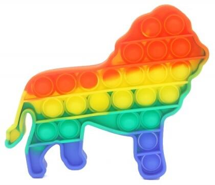 Fidget Push Pop Bubble Toy Rainbow Löwe .