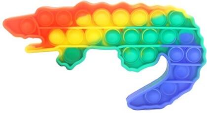 Fidget Push Pop Bubble Toy Rainbow Crocodile .