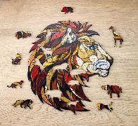 Holzpuzzle Löwe mit Spieltieren