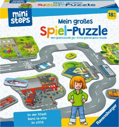 Ravensburger ministeps 04192 Mein großes Spiel-Puzzle - In der Stadt, Bodenpuzzle mit vielen kreativen Spielmöglichkeiten, Spielzeug ab 18 Monate