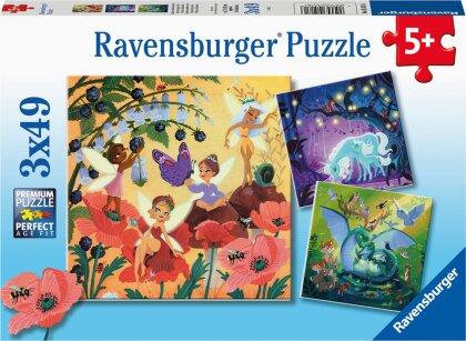 Ravensburger Kinderpuzzle 05181 - Einhorn, Drache und Fee - 3x49 Teile Puzzle für Kinder ab 5 Jahren