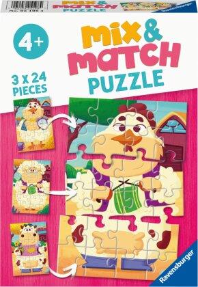 Ravensburger Mix & Match Puzzle 05198 - Meine Bauernhoffreunde - 3x24 Teile Puzzle für Kinder ab 4 Jahren