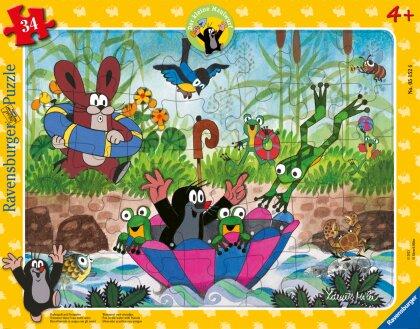 Ravensburger Kinderpuzzle 05152 - Badespaß mit Freunden - 34 Teile Maulwurf Rahmenpuzzle für Kinder ab 4 Jahren