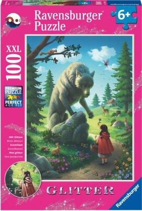 Ravensburger Kinderpuzzle 12988 - Rotkäppchen und der Wolf 100 Teile XXL - Puzzle für Kinder ab 6 Jahren - mit Glitzer