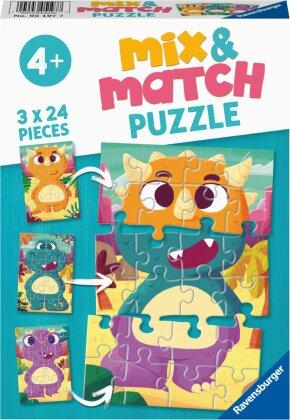 Ravensburger Mix & Match Puzzle 05197 - Niedliche Dinos - 3x24 Teile Puzzle für Kinder ab 4 Jahren