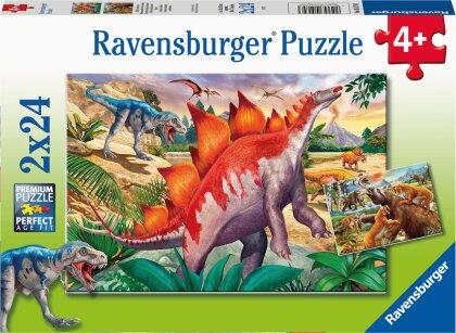 Ravensburger Kinderpuzzle 05179 - Wilde Urzeittiere - 2x24 Teile Puzzle für Kinder ab 4 Jahren