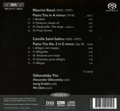 Sitkovetsky Trio, Maurice Ravel (1875-1937) & Camille Saint-Saëns (1835-1921) - Piano Trios (Hybrid SACD)
