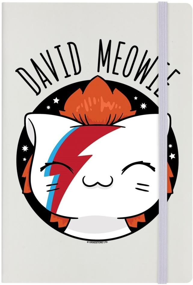 V.I.Pets: David Meowie - A5 Cream Notebook