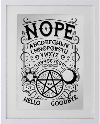 Nope Ouija - Small Mirrored Tin Sign