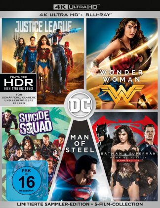 DC Collection 5 Filme - Justice Legue / Wonder Woman / Batman v Superman - Dawn of Justice / Man of Steel / Suicide Squad (Sammler Edition, Limited Edition, 5 4K Ultra HDs + 5 Blu-rays)