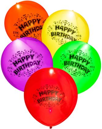 HAPPY BIRTHDAY LED-Ballone 5 Stck in verschiedenen Farben!