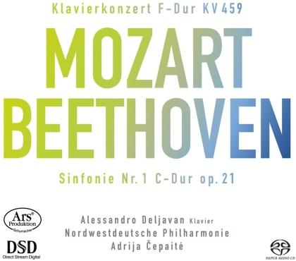 Wolfgang Amadeus Mozart (1756-1791), Ludwig van Beethoven (1770-1827), Adrija Cepaite & Alessandro Deljavan - Piano Concerto 19, Symphony No. 1 (Hybrid SACD)