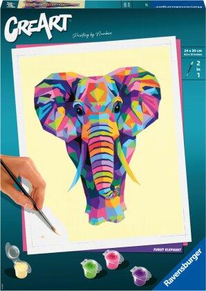 Malset Funky Elephant, d/f/i - CreArt, Malen nach Zahlen,