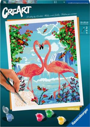 Malset Flamingo Love, d/f/i - CreArt, Malen nach Zahlen,