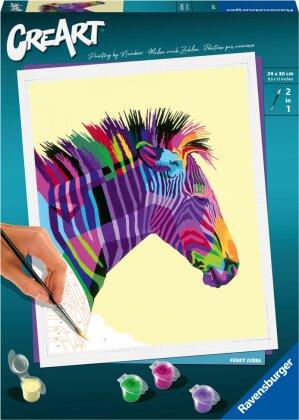 Malset Funky Zebra, d/f/i - CreArt, Malen nach Zahlen,