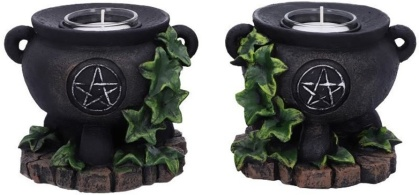 Set of Two Ivy Cauldron Witches Candle Holders - 11cm