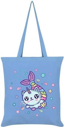 Kawaii Mermaid Kitten - Sky Blue Tote Bag