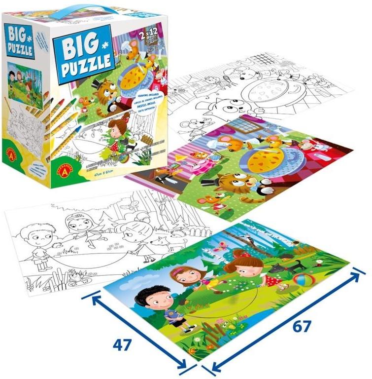 Big Puzzle – Kinder Fun & Tiere Restaurant - 2 x 12 Teile