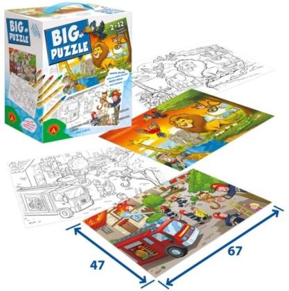 Big Puzzle – Feuerwehr & Afrikanische Tiere - 2 x 12 Teile