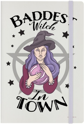 Baddest Witch in Town - Cream A5 Hard Cover Notebook