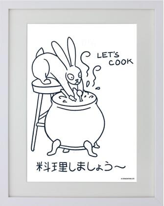 Kawaii Bunny: Let's Cook - Framed Mini Print
