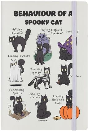 Behaviour of a Spooky Cat - Cream A5 Hard Cover Notebook