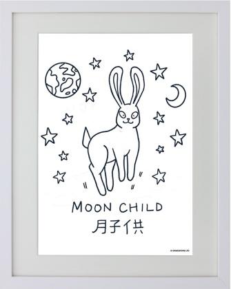 Kawaii Bunny: Moon Child - Framed Mini Print