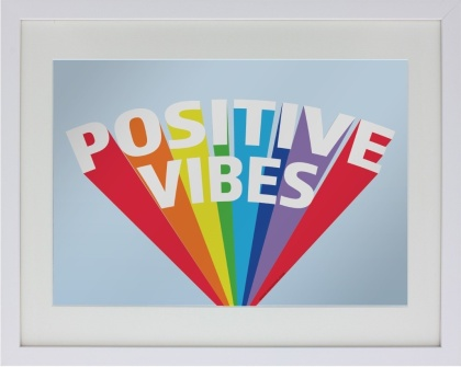 Positive Vibes - Framed Mirrored Tin Sign