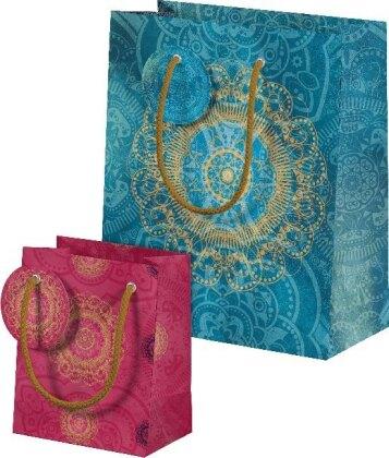 Der Zauber Indiens Geschenktüten-Set Motiv Blaues Ornament