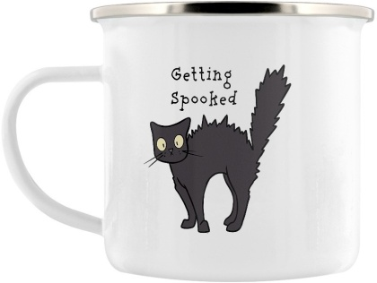 Spooky Cat: Getting Spooked, Concoction Creating & No Fear - Enamel Mug