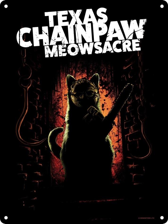 Texas Chainpaw Meowsacre - Mini Tin Sign