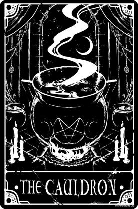 Deadly Tarot: The Cauldron - Small Tin Sign