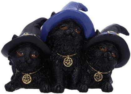 Familiar Felines - Black Cats in Witches Hats Figurine