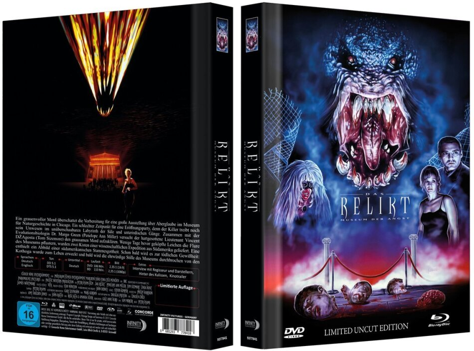 Das Relikt - Museum der Angst (1997) (Cover A, Limited Collector's Edition, Mediabook, Uncut, Blu-ray + DVD)