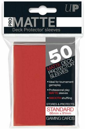 Protèges Cartes 50 pièces - Rouge - PRO-MATTE - Standard - 9 cm