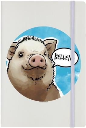 Cute But Abusive Pig - Bellend Cream A5 Hard Cover Notebook