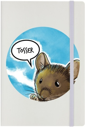Cute But Abusive Mouse - Tosser - Cream A5 Hard Cover Notebook