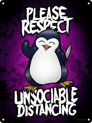 Psycho Penguin Unsociable Distancing - Mini Tin Sign
