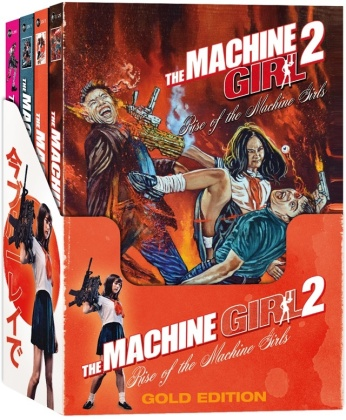 The Machine Girl 2 - Rise of the Machine Girls (2019) (Gold Edition, Cover A, Cover B, Cover C, Cover D, Schuber, Limited Edition, Uncut, 4 Blu-rays + 4 DVDs)