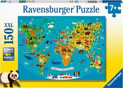 Ravensburger Kinderpuzzle - Tierische Weltkarte - 150 Teile Puzzle für Kinder ab 7 Jahren