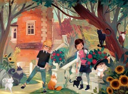 Ravensburger Kinderpuzzle 13330 - Die Katzenflüsterer Nova und Henry - 300 Teile XXL Mitternachtskatzen Puzzle für Kinder ab 9 Jahren