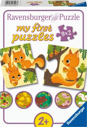 Ravensburger Kinderpuzzle - Tiere und ihre Kinder - 9x2 Teile my first Puzzle für Kinder ab 2 Jahren