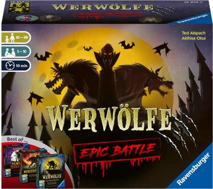 Ravensburger 26858 - Werwölfe - Epic Battle, Best-of der Spielereihe für 3-10 Spieler, Gesellschaftsspiel ab 10 , Partyspiel
