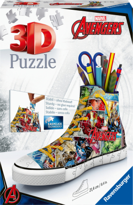 Ravensburger 3D Puzzle 12113 - Sneaker Avengers - 108 Teile - praktischer Stiftehalter im Marvel Avengers Design ab 8 Jahren
